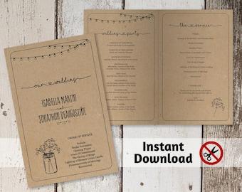 Wedding Program Template - Printable Ceremony Program - Rustic Mason Jar, Lights, Baby Breath - Editable PDF Instant Download Folded Booklet