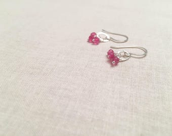Pink Moonstone and Sterling Silver Drops - Blue Flash Pink Moonstone Hammered Artisan 925 Sterling Silver Oval Drop Earrings Spring Gift
