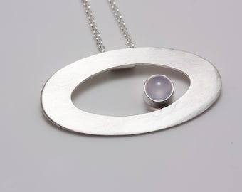 Sterling Silver Orbit Pendant with Chalcedony on Cable Chain - Marked down for Clearance - 30%