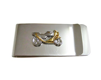 Gold and Silver Motorcycle Money Clip