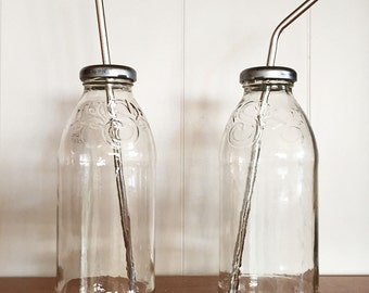 Glass Water Bottle Upcycled with Stainless Steel Straw Re-purposed great for Essential Oils