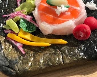 Miniature sushi dinner, miniature sashimi,dollhouse raw fish, dollhouse Japanese dish,miniature Japanese cuisine,faux fish dinner,fake sushi