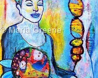 Large original painting, spiritual art, contemplation, meditation, acrylic painting
