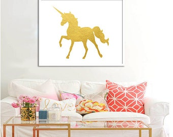Unicorn Wall Decor Gold Unicorn Wall Art Printable Poster Unicorn Print Unicorn gold art decor Gold decor poster Gold print Unicorn Wall art