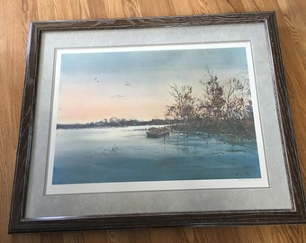 "Framed and Matted "" Quiet Inlet""  Michael Schofield Pencil  Signed & numbered Lithograph 27 x 30"