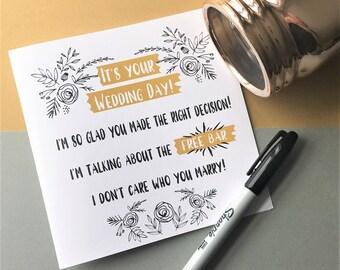 Funny Wedding Card, Wedding Card, Funny Alcohol Wedding Card, On Your Wedding Day Card, Rude Wedding Card, Congratulations Wedding Card