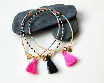 seedbeads  bracelet with black tassel and goldfilled clasp