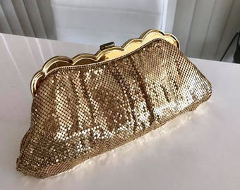 Sparkly Vintage Wighting and David Gold Mesh Clutch Bag 1950's Glamor - Rockabilly VLV