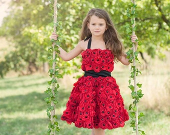 Full flowered girl dress - poppy dress - wedding flower girl