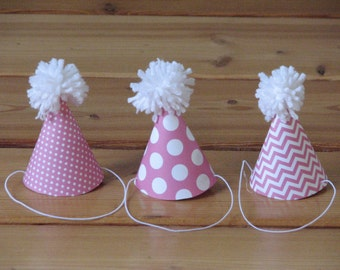 4 Pink party hats - fit American Girl dolls