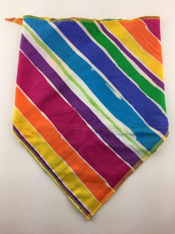 Rainbow Super Stripes: Cotton Stash Pocket Bandana w/ Full Rainbow Diagonal Stripe Print