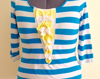 Yellow and blue striped women's top with ruffles upcycled recycled repurposed