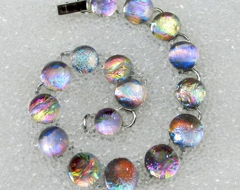 Bracelet in Dichroic Fused Glass Sparkling, Dichroic Glass Mermaid Tears, Gold or Silver