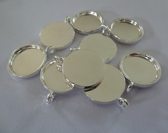 10 x 16m Silver plated ROUND pendant trays