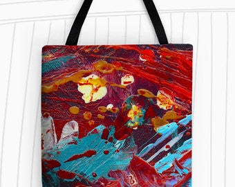 Comic Book Hero Tote Bag. Modern Art Tote Bag, Reusable Bags, Large Tote Bag, Travel Bag, Abstract Art Tote, Painting Tote Bag, Red Tote Bag