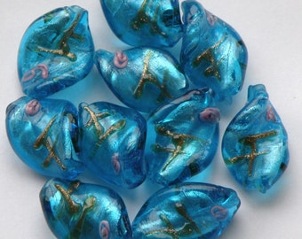 Lampwork Glass Twist Beads / Turquoise / Set of 10