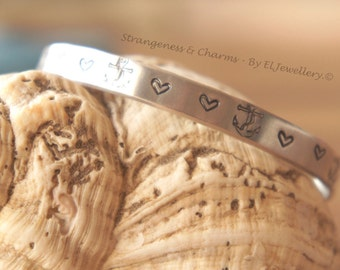 "Hand Stamped 'Anchor Love' 1/4"" Aluminium Cuff Bracelet, Stamped, Anchor, Anchor Love, Metal Jewellery, Quote, Handmade,"