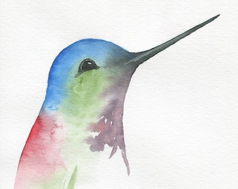 "ORIGINAL Watercolor Hummingbird, 8""x10"" Watercolor Sketch, Hummingbird Painting, Watercolor Bird Painting, Hummingbird Art"