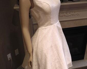 White sequin bridesmaid dress, White bridesmaid dress, Sequin wedding dress, white sequin dress
