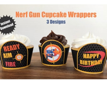 Birthday Party Cupcake Wrappers, Nerf Birthday Party Cupcake Wrappers, Cupcake Wrappers, Nerf Party Decorations, Cupcake Wrappers