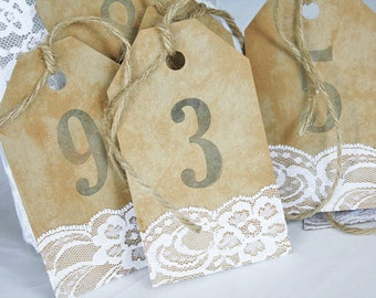 Rustic Kraft and Lace Tea Stained Number Tags, Rustic Table Numbers, Wedding Table Numbers, Rustic Wedding, Lace Table Numbers