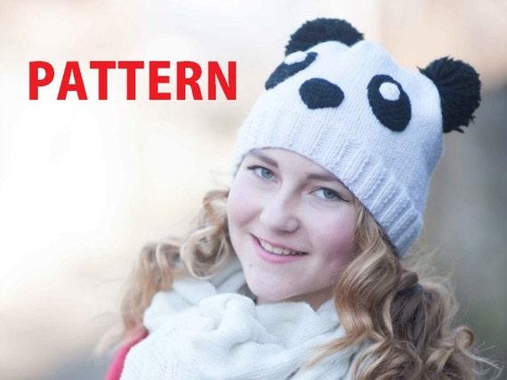 Panda Girl Hat Pattern Knitted Teen Girl Beanie Pdf Tutorial