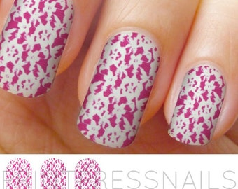 Hot Pink and White Flower Lace Nail Stickers, Nail Vinyls, Full Nail Stickers, Nail Decals