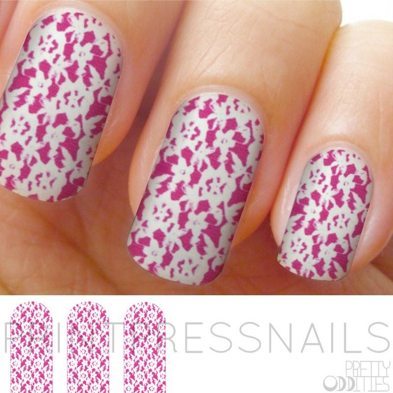 Hot Pink and White Flower Lace Nail Stickers, Nail Vinyls, Full Nail ...