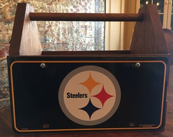Handcrafted Pittsburgh Steelers License Plate Solid Wood Tote Box Drink Carrier