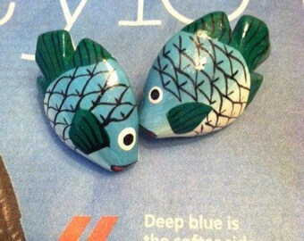 Hand Painted Wooden Kissing Fish Post Earrings Lightweight Bright