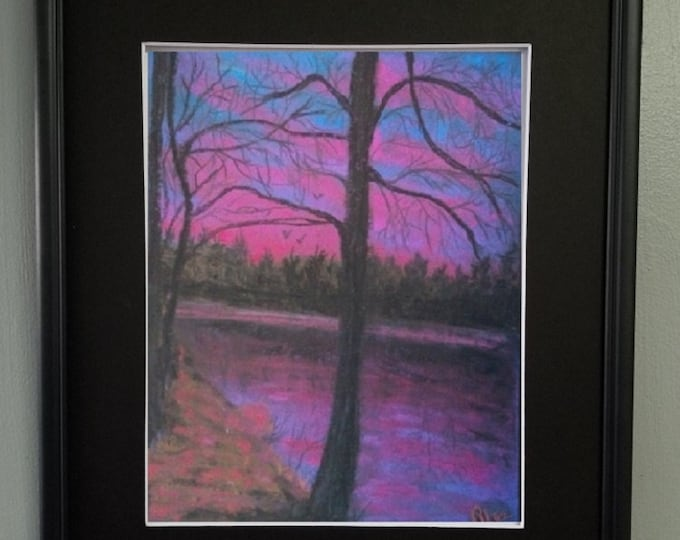 "8x10 Original Pastel Painting, Landscape Artwork, Soft Pastels, ""Early Morning Colors"""