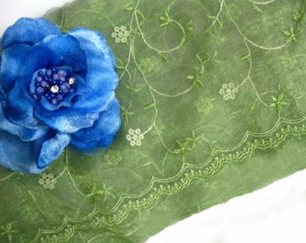 """DS02 - 56"""" Green Organza Floral Embroidery Fabric"""
