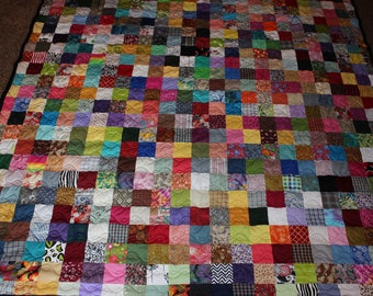 California King Size Scrappy Patchwork Quilt - Custom Made to Order
