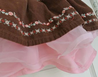 brown corduroy and pink tutu cowgirl skirt