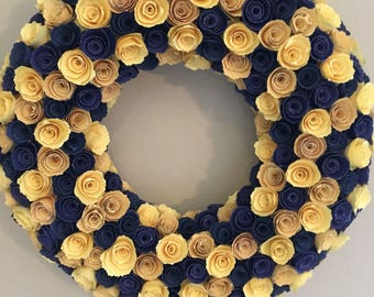 Yellow paper flowers/indigo blue paper flowers/light yellow paper flowers/blue paper flowers/blue and yellow paper flowers/paper wreath