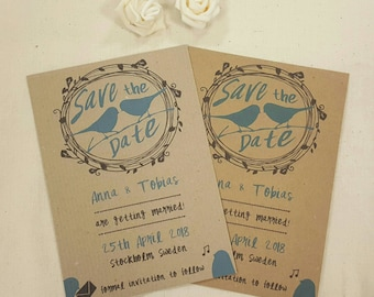 Personalised Save The Dates Wedding Love Birds A6 Postcard Invites Ribbed or Kraft with envelops