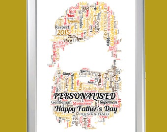 Personalised Framed Beard Shape Word Art Cloud - Perfect gift for a bearded dad on Father's day