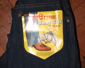 70s Vintage Lee Jeans Bootcut Indigo Dead Stock NOS Size 26