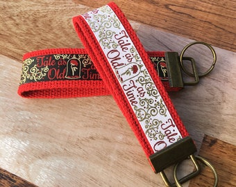 Beauty and the Beast Key Fob Wristlet / Key Chain / Tale as old as time / Princess Belle