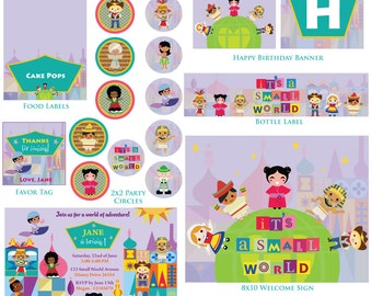 Customized It's a Small World Birthday Invitation and Party Kit