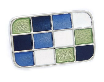 Blue & White Checker Cufflinks