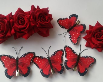 Floral and butterfly hair pin set