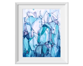 Fine Art Print, Abstract Painting, Seascape Painting, Original Abstract Painting, Blue Teal Painting, Line Painting, Water, GICLEE