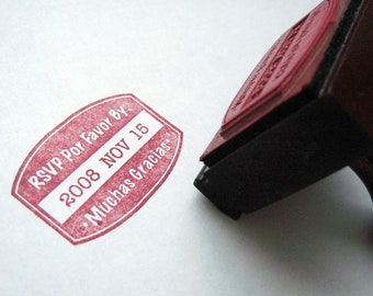 Muchas Gracias RSVP Stamp, Wooden Handle Stamp but also available as Self Inking Stamp