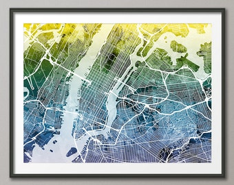 New York City Street Map USA, Art Print (1928)