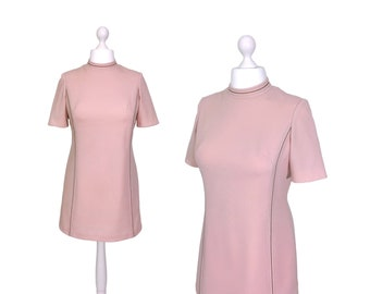 Dusky Pink 70's Minidress | Pale Pink Vintage Dress | Pink Dress With Brown Contrast Stitching
