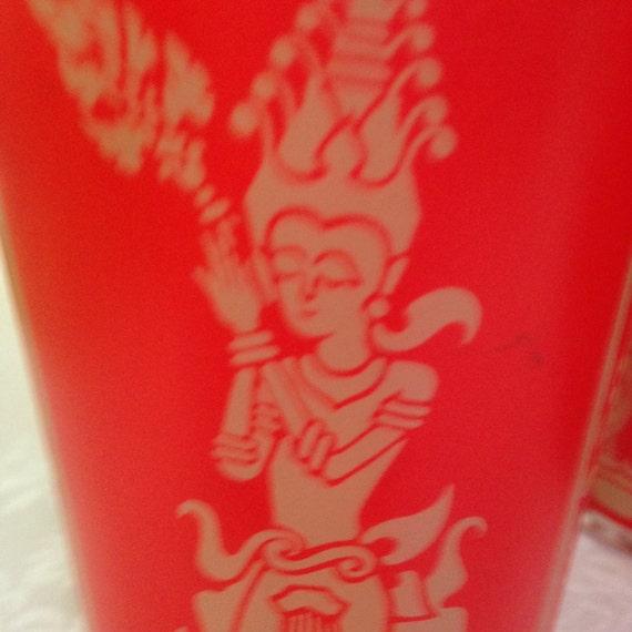 Set/6 Vintage Red Thailand Dancer Highball Glasses
