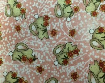 Bernartex GARDEN PARTY (Bunnies-Coral) 100% Cotton Premium Quality Fabric - sold by 1/2 yard