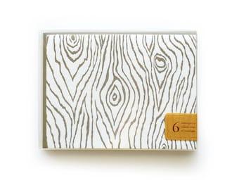 Faux Bois - set of 6 letterpress cards