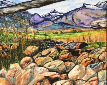 Mountain art canvas, mountain art watercolor, mountain view art, watercolor on canvas, canvas watercolor, mountain landscape painting
